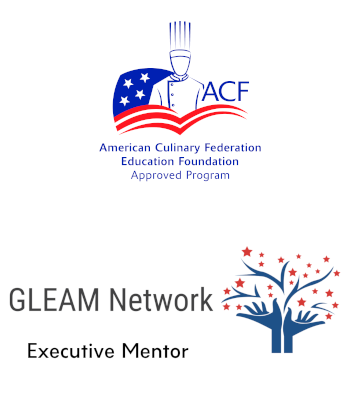 American Culinary Federation Education Foundation approved program badge sitting above the GLEAM Network Executive Mentor Badge.
