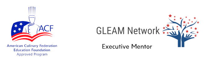 American Culinary Federation Education Foundation approved program badge sitting beside the GLEAM Network Executive Mentor Badge.